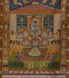 Folk Art Tribal Art Painting title Sreenathji Aarti Pichwai Art by artist Artisan