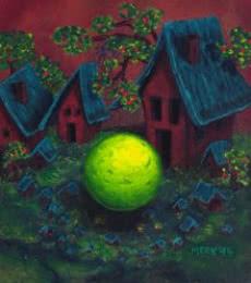Surrealist Acrylic Art Painting title 'Object 17' by artist Rainer Clemens Merk