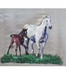 Indian Miniture | Watercolor Painting title HORSE on paper | Artist Indian Miniture Gallery | ArtZolo.com