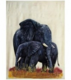 Animals Watercolor Art Painting title 'ELEPHANT' by artist Indian Miniture