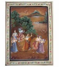 Religious Watercolor Art Painting title RADHA AND KRISHNA by artist Indian Miniture