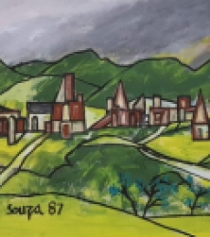 Landscape Oil Art Painting title 'Untitled 4' by artist F N Souza