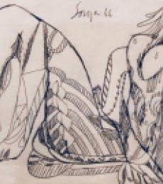 Nude Pen-ink Art Drawing title 'Untitled 6' by artist F.N Souza