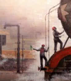 Locomotive10 | Painting by artist Kishore Pratim  Biswas | acrylic | Canvas