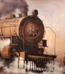 Locomotive13 | Painting by artist Kishore Pratim  Biswas | acrylic | Canvas