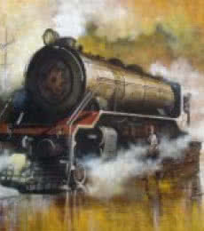 contemporary Acrylic Art Painting title 'Locomotive17' by artist Kishore Pratim Biswas