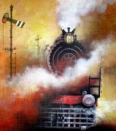 Locomotive19 | Painting by artist Kishore Pratim Biswas | acrylic | Canvas