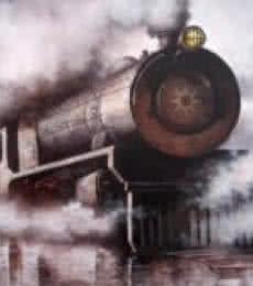 Locomotive20   Painting by artist Kishore Pratim  Biswas   acrylic   Canvas