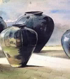 Pots/Vessels Watercolor Art Painting title Earthen Hues by artist Shagufta Mehdi