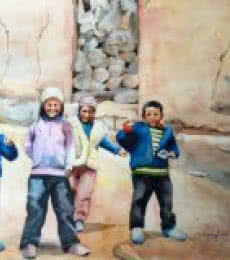 Figurative Watercolor Art Painting title Ladakh by artist Shagufta Mehdi