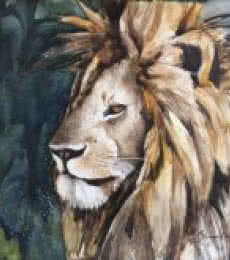 Animals Watercolor Art Painting title 'Messy Mane' by artist Shagufta Mehdi
