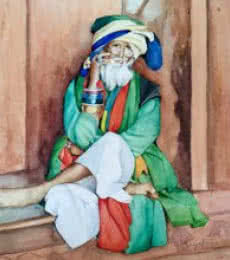 Mobile Baba | Painting by artist Shagufta Mehdi | watercolor | Paper
