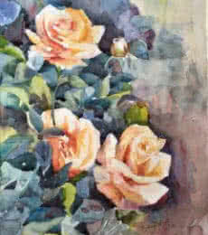 Nature Watercolor Art Painting title 'Roses' by artist Shagufta Mehdi