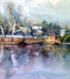 Asit Singh | Watercolor Painting title Dal Lake on Paper | Artist Asit Singh Gallery | ArtZolo.com