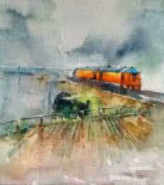 Konkan Rail | Painting by artist Asit  Singh | watercolor | Paper