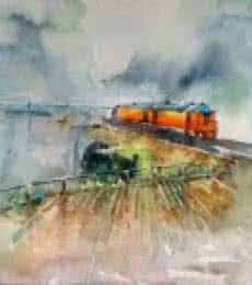 Konkan Rail | Painting by artist Asit  Singh | watercolor | Paper