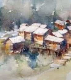 Landscape Watercolor Art Painting title 'Gurez Valley Kashmir' by artist Asit Singh