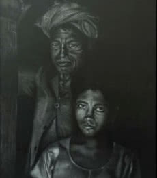 Portrait Charcoal Art Drawing title Silent Tears by artist Sadhana Solanki