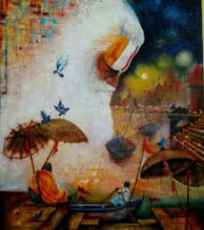 Arjun Das | Acrylic Painting title Banaras Ghat on Canvas | Artist Arjun Das Gallery | ArtZolo.com