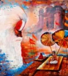 Arjun Das | Acrylic Painting title Banaras Ghat 5 on canvas | Artist Arjun Das Gallery | ArtZolo.com