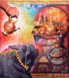 Religious Acrylic Art Painting title 'Banarash Ghat 2' by artist Arjun Das