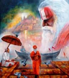 Banarash Ghat 3   Painting by artist Arjun Das   acrylic   canvas
