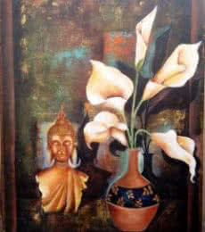 Buddha And Lily | Painting by artist Arjun Das | acrylic | Brass