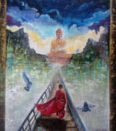 Religious Acrylic Art Painting title 'Buddha And Monk 2' by artist Arjun Das