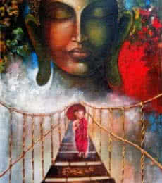 Arjun Das | Acrylic Painting title Buddha And Monk Child 3 on Canvas | Artist Arjun Das Gallery | ArtZolo.com