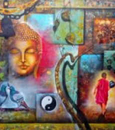 Religious Acrylic Art Painting title 'Peaceful buddha and monk' by artist Arjun Das