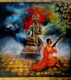 Krishna Sang Meera 2 | Painting by artist Arjun Das | acrylic | Canvas