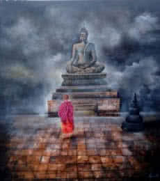 Religious Acrylic Art Painting title 'Monk Child And Buddha' by artist Arjun Das