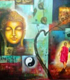 Religious Acrylic Art Painting title 'Monk Of Buddhism 54 X 42 Inch' by artist Arjun Das Of Buddha