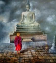 Monk Of Buddhism Child | Painting by artist Arjun Das | acrylic | Canvas