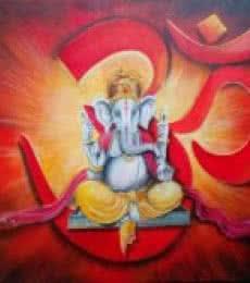 Religious Acrylic Art Painting title 'Om Ganesha' by artist Arjun Das
