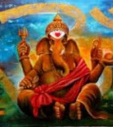 Religious Acrylic Art Painting title Om Ganesha 2 by artist Arjun Das