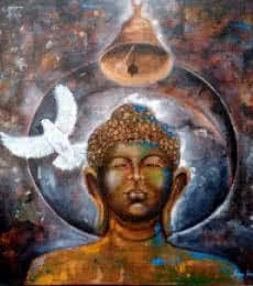 Arjun Das | Acrylic Painting title Peaceful Buddha 5 on Canvas | Artist Arjun Das Gallery | ArtZolo.com