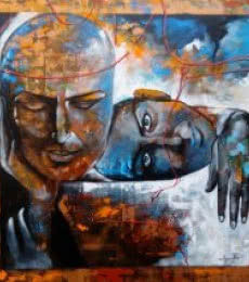 Figurative Acrylic Art Painting title 'The Caring Couple' by artist Arjun Das