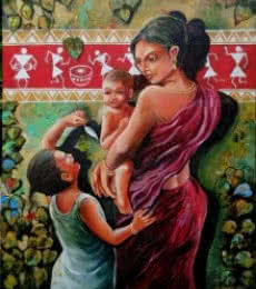 The Tribal Of Mother And Child | Painting by artist Arjun Das | acrylic | Canvas