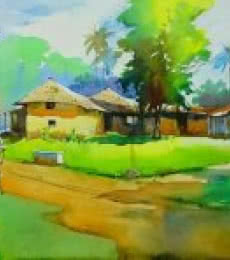 Nature Watercolor Art Painting title 'A Hot Day' by artist Gulshan Achari