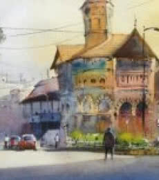 Gulshan Achari | Watercolor Painting title A Market Of Beauty on Paper | Artist Gulshan Achari Gallery | ArtZolo.com