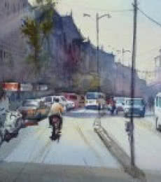 Cityscape Watercolor Art Painting title As We Move Things Will Get Clear by artist Gulshan Achari