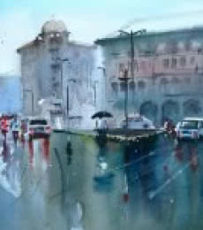 Cityscape Watercolor Art Painting title 'Catching The Last Shower' by artist Gulshan Achari
