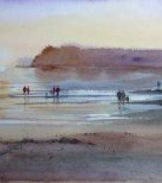 Seascape Watercolor Art Painting title 'Enjoying The Evening' by artist Gulshan Achari