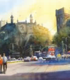 Cityscape Watercolor Art Painting title 'Feel The Warmth Of Mumbai' by artist Gulshan Achari