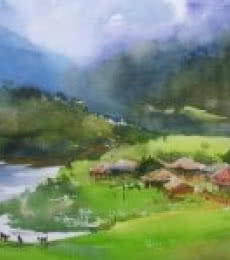 Nature Watercolor Art Painting title Green Paradise by artist Gulshan Achari