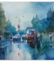 Cityscape Watercolor Art Painting title 'Rainspirations' by artist Gulshan Achari
