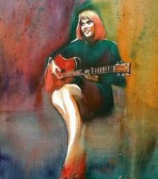 Her Swaying Red Shoes | Painting by artist Gulshan Achari | watercolor | Paper