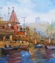 Overflowing Devotion   Painting by artist Gulshan Achari   watercolor   Paper