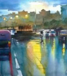 Cityscape Watercolor Art Painting title 'Rainspirations 2' by artist Gulshan Achari